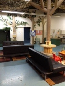 Filled with trees and couches - the Thunderbird Library is sponsored by the Pilling Family. Great casual area for parties.