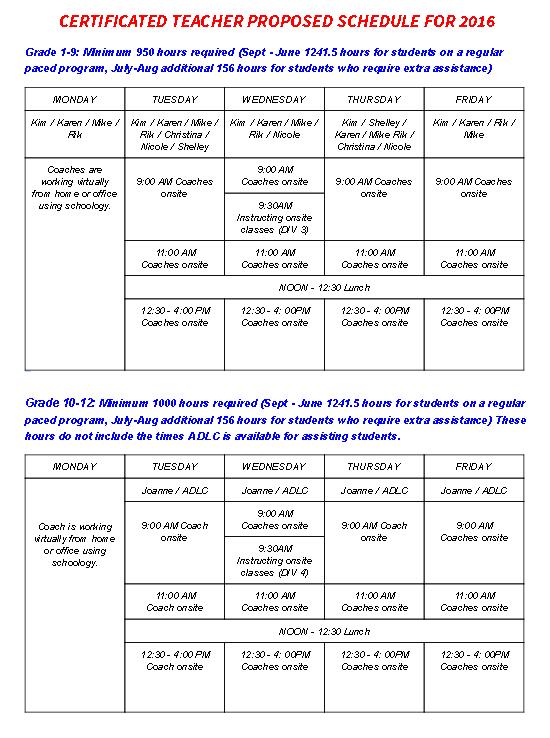Schedule for teachers