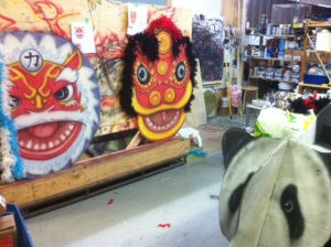dancing dragon and lion mask heads