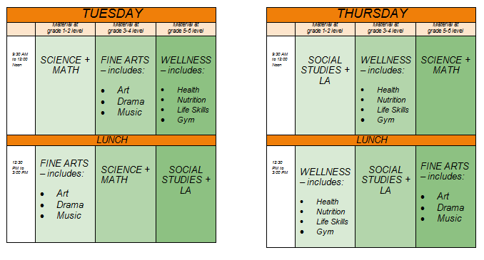 Class schedule for 2014