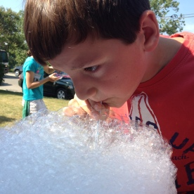 We made colored bubbles.
